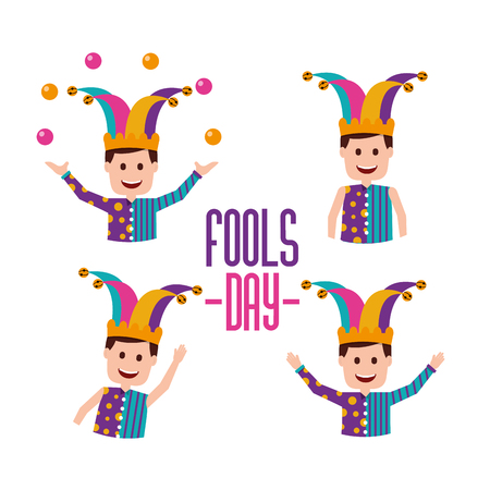 Fools day set jokers character trick prank vector illustration.