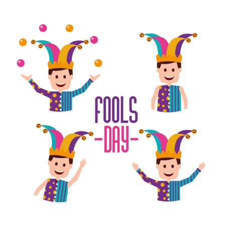 Fools day set jokers character trick prank vector illustration.