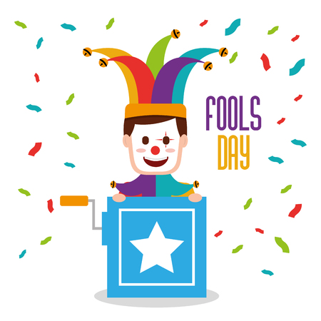 Fools day man with joker mask in hte box prank vector illustration. Illustration