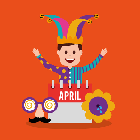 A happy joker with calendar, flower, and mask glasses Illustration
