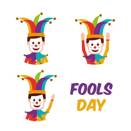 Fools day collection of clowns in jester hat vector illustration