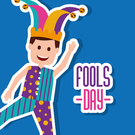 Funny joker in a joker hat and is waving a hand, a vector illustration. Illustration