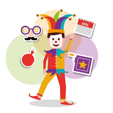 A joker character in a mask with a box, cushion, and calendar. A vector illustration.