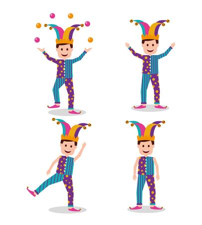 Set of joker cartoon in different gesturing illustration. Stock Illustratie
