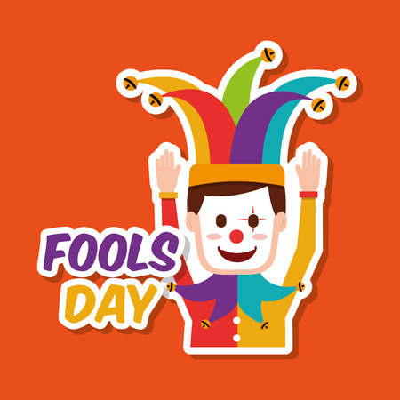 Fools day joker mask hat celebration vector illustration.