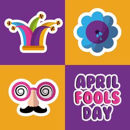 Collection of prank tricks for fools day celebration vector illustration.