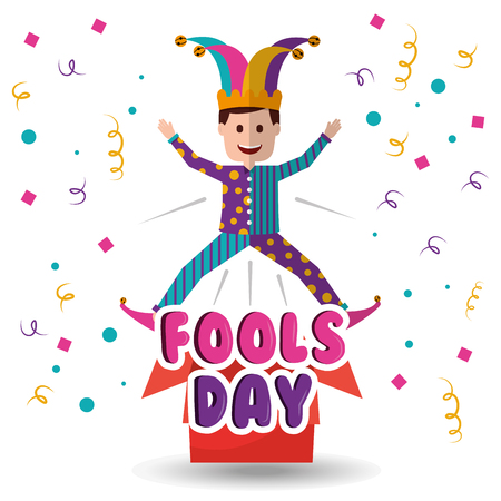 Joker jumping jack in the box surprise fools day vector illustration