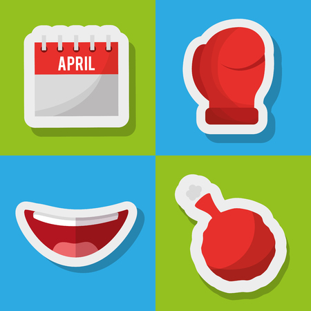 Collection prank tricks fools day celebration vector illustration.