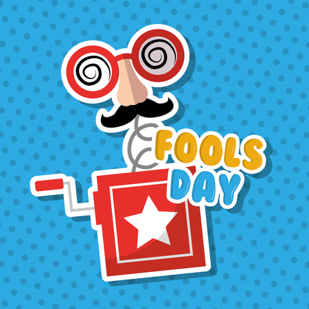 Prank box surprise mask mustache glasses fools day vector illustration. Çizim