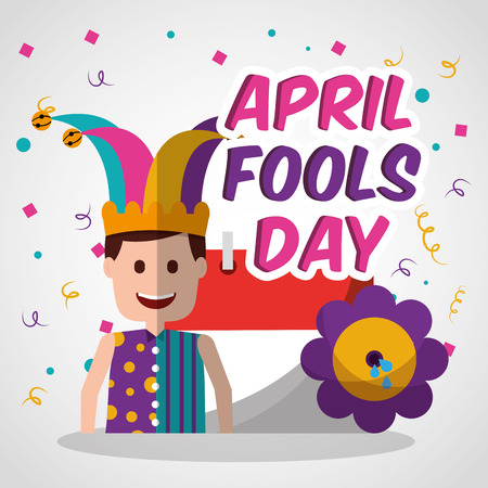 Happy joker with prank flower and calendar April fools day vector illustration. Illustration