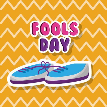 Pair of shoes with tied laces prank fools day vector illustration. Illustration