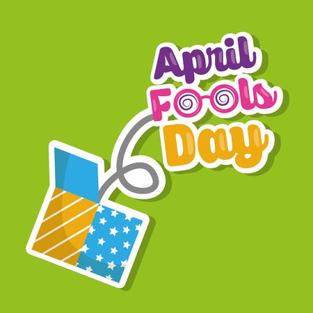 April fools day lettering jump on prank box vector illustration