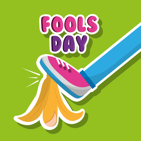 Fools day funny prank leg and banana peel vector illustration