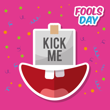 Kick me prank paper sticker and happy mouth vector illustration.