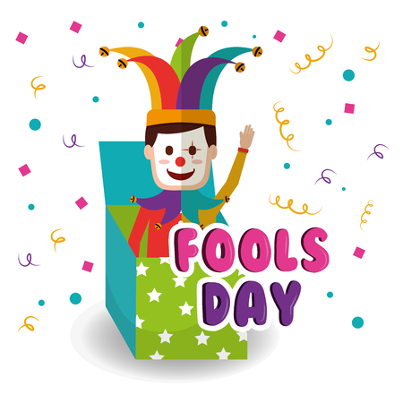 Joker in the box prank waving hand fools day vector illustration Illustration