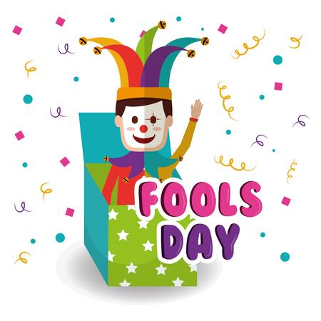 Joker in the box prank waving hand fools day vector illustration Illustration