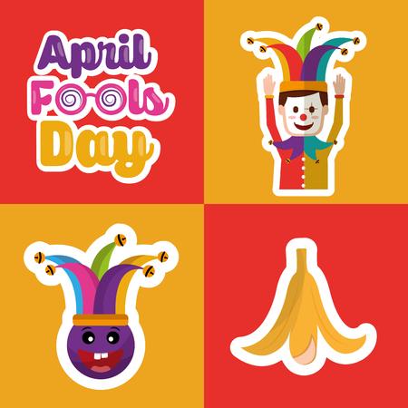 Collection prank tricks fools day celebration vector illustration Çizim