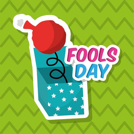Fools day surprise box humor whoopee cushion vector illustration