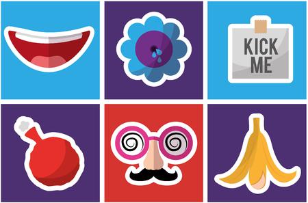 Fools day celebration festive pranked icons set vector illustration. Illustration