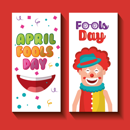 Funny clown happy mouth april fools day banners vector illustration. Illustration