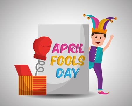 Joker waving with prank box glove surprise april fools day vector illustration.