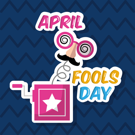Prank box mask mustache silly glasses april fools day vector illustration