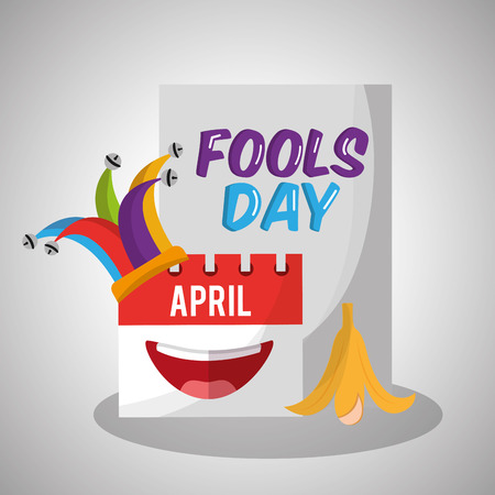 Fools day calendar jester hat banana peel vector illustration.