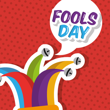 Jester hat with speech bubble fools day vector illustration. Stock Illustratie