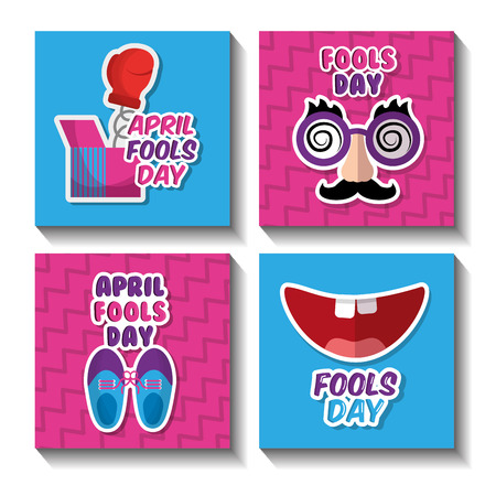 Fools day celebration festive pranked icons set vector illustration. Illustration
