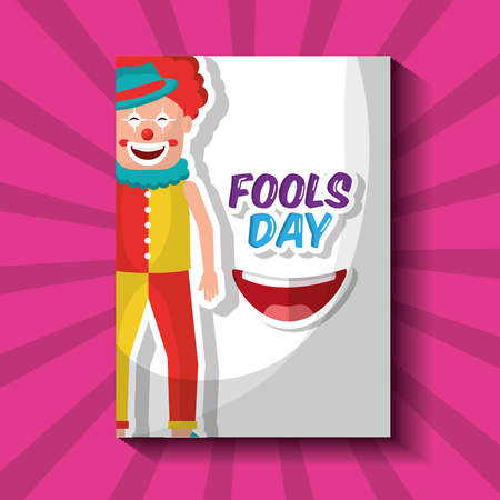 Happy clown humor cartoon fools day card vector illustration. Illustration