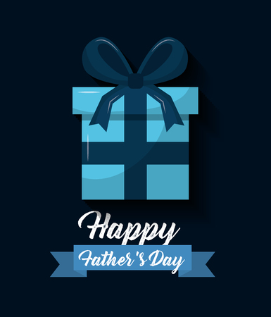 Happy fathers day blue wrapped gift box ribbon bow decoration vector illustration