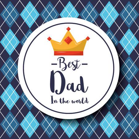 Distintivi il migliore papà nell'illustrazione di vettore del fondo del modello del argyle della corona del mondo