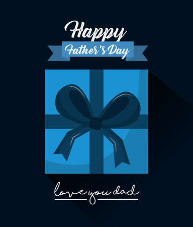 Happy fathers day love you dad top view gift box ribbon vector illustration Illustration