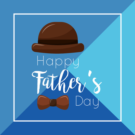 Happy fathers day brown hat and mustache card vector illustration Фото со стока - 96127853