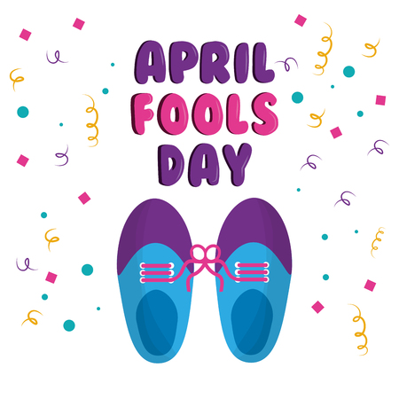 April fools day shoe with tied laces comic celebration vector illustration Stockfoto - 96127854