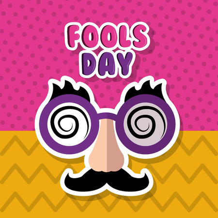 Mask with mustache and glasses, fools day vector illustration.