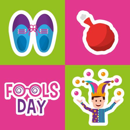 Collection prank tricks fools day celebration vector illustration.
