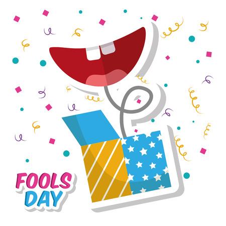 Prank box and smile mouth fools day confetti celebration vector illustration