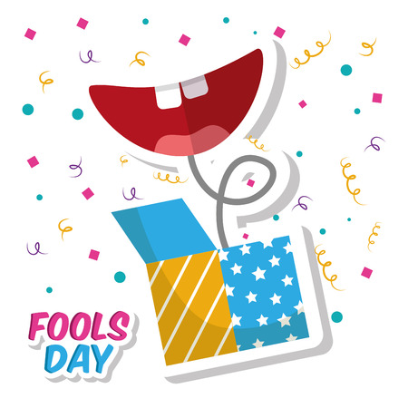 Prank box and smile mouth fools day confetti celebration vector illustration