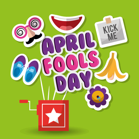 April fools day prank box mask water flower and kick me sticker vector illustration Çizim