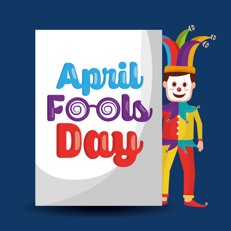 Funny clown standing with lettering april fools day vector illustration.