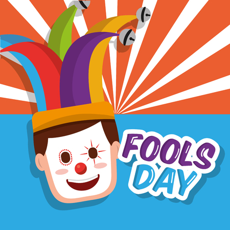 Clown mask happy jester hat fools day vector illustration.