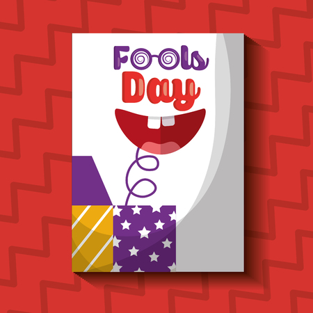 Prank box with happy mouth fools day card vector illustration. 版權商用圖片 - 96151266