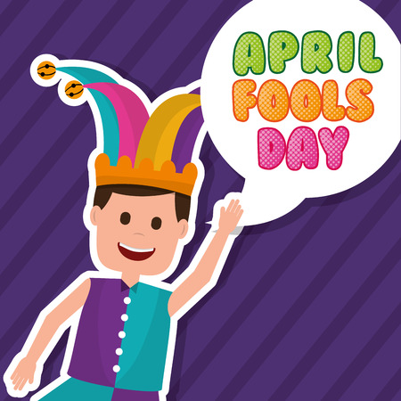 Happy man joker clothes and bubble april fools day vector illustration Ilustrace
