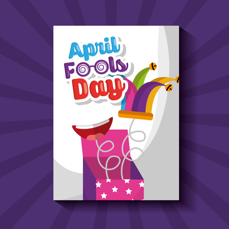 prank box jester hat mouth springing out surprise april fools day vector illustration Stock Photo