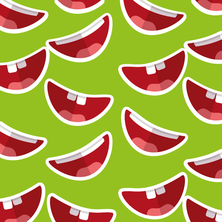 happy mouth teeths funny fools day decoration pattern vector illustration