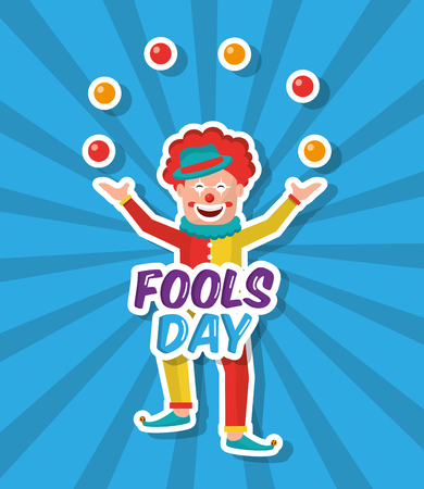 april fools day fun a clown juggling balls vector illustration vector illustration