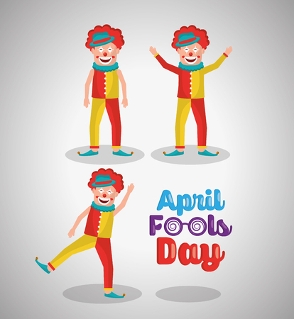 Funny happy clowns comedy character with April fools day written on the side, a vector illustration.