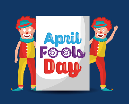 pair clowns cheerful happy comic april fools day vector illustration