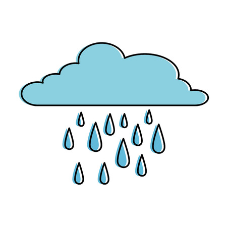 Cloud weather with rain drops vector illustration design.